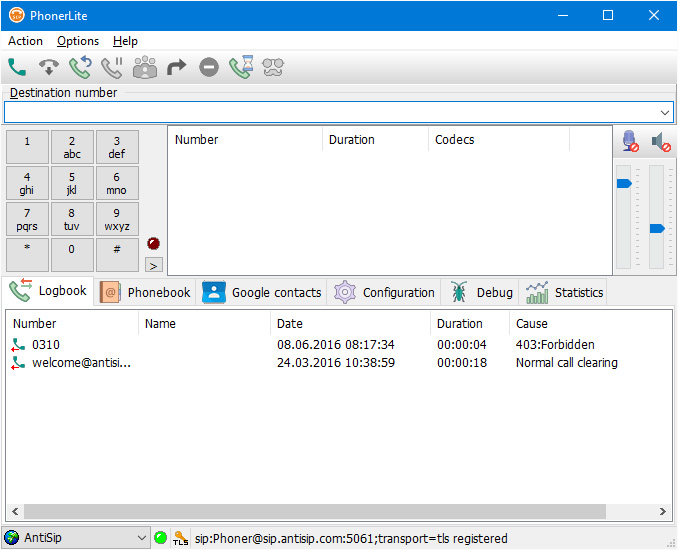 PhonerLite 2.35 screenshot